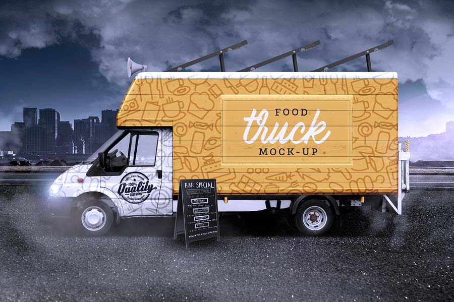 Food truck mockup free van hd photoshop descarga gratis for 360 inspired cuisine lethbridge